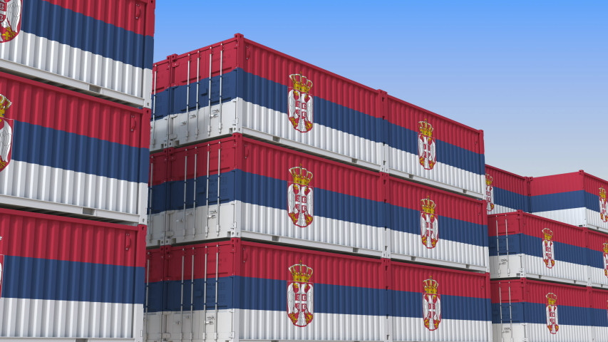 Container yard full of containers with flag of Serbia. Serbian export or import related loopable 3D animation   Shutterstock HD Video #1034009510