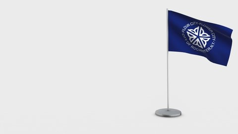 Rochester New York waving flag animation on Flagpole. Perfect for background with space on the left side.