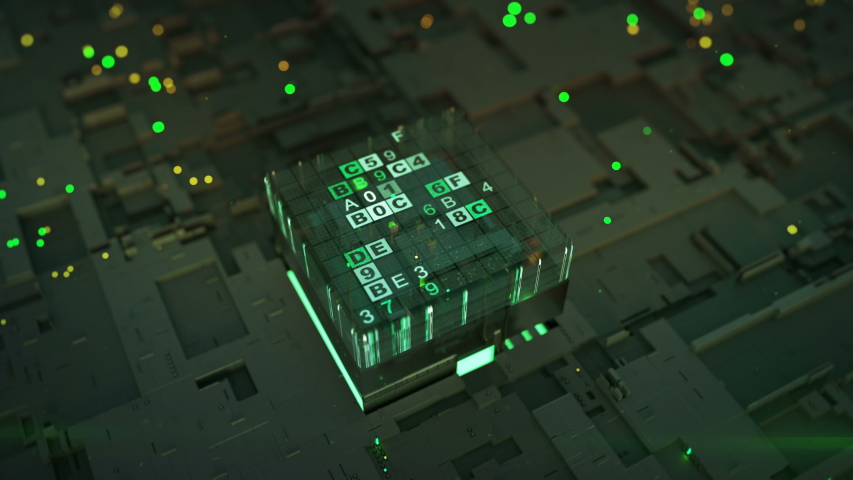 Green data encoding process. Fictional circuit board with central processor unit. Seamless loop 3D render animation with DOF | Shutterstock HD Video #1034146040