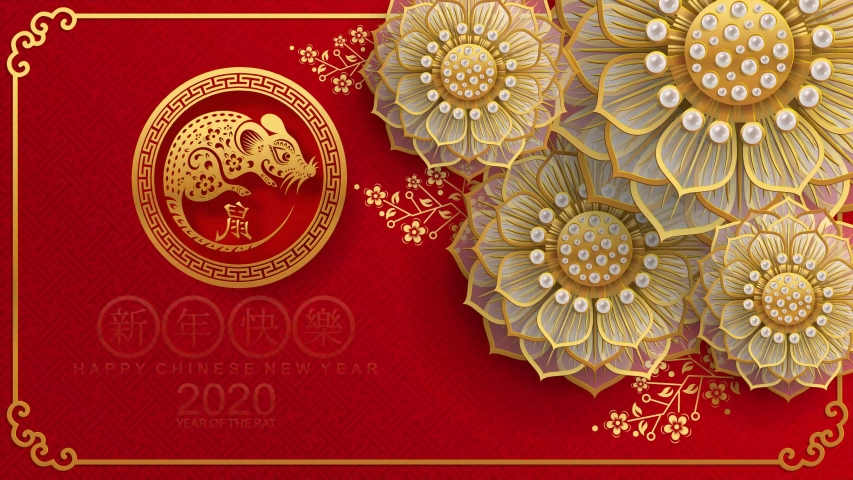 Happy chinese new year 2020 year of the rat ,paper cut rat character,flower and asian elements with craft style on background.  (Chinese translation : Happy chinese new year 2020, year of rat) | Shutterstock HD Video #1034177570