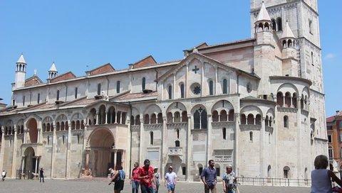Modena, Italy - Circa June 2019. View of Modena Cathedral (Duomo di Modena) and Piazza Grande.
