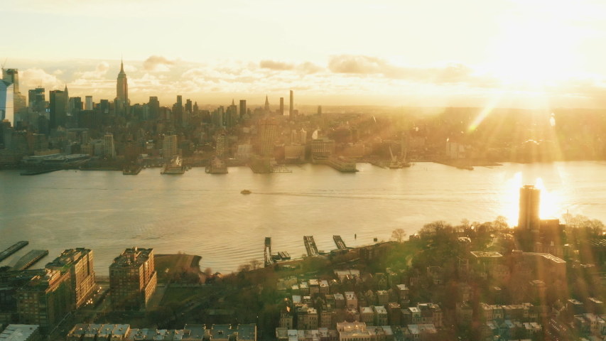 Aerial View Sunrise Hoboken New York City and sunflares 4k Midtown series