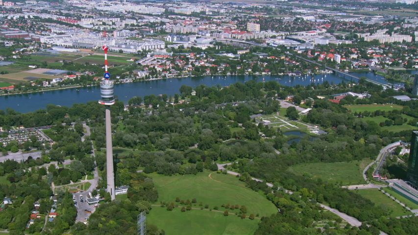 Vienna Austria - aerial shot from a helicopter - Danube Tower | Shutterstock HD Video #1034311010