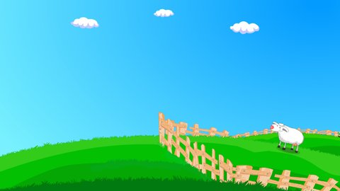 Counting sheep. Sacrificial sheep jumping off the fence and running away.  Green prairie, sheep, blue sky, fences, happy sheep. 2d 4K loop animal  animation. Can write your slogan in the clean sky.