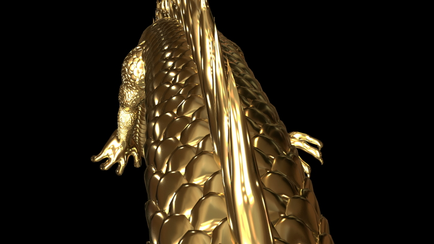 Gold Chinese dragon animation movement with gold material shade by 3d rendering. | Shutterstock HD Video #1034354120