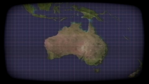 Intentional distortion: an old color crt tv monitor, showing a static  satellite view of australia (the whole continent)  concepts: surveillance,  global communications, old-timey spy story