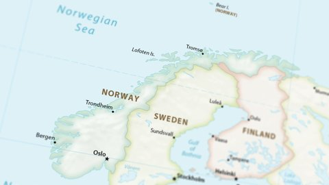 Norway on a political map of the world. Video defocuses showing and hiding the map (4K UHD)