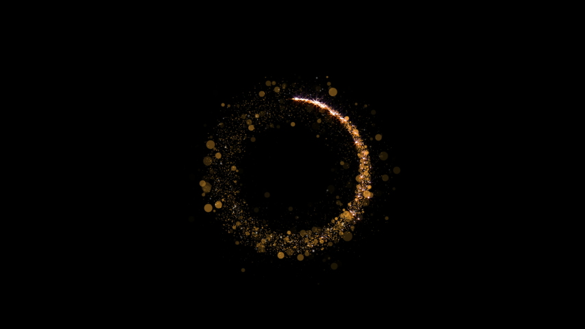 Particles Circle Sparkle. Gold Glitter Particles Background. Loop