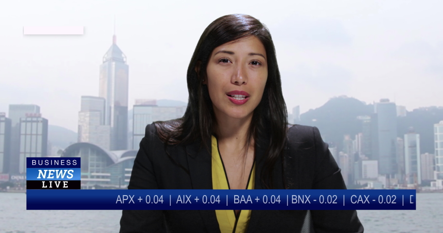 MS Female anchor reporting live from Hong Kong, China with stock market update   Shutterstock HD Video #1034745590