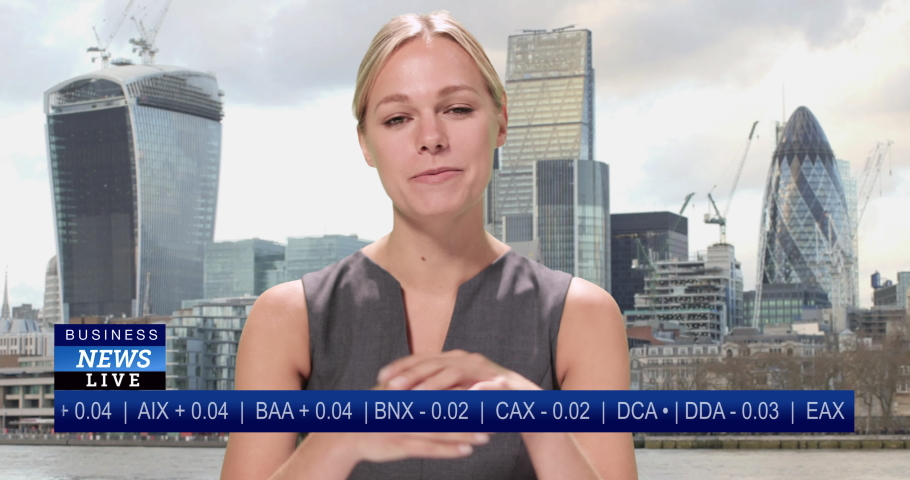 Female presenting the business news, live from City of London stock exchange