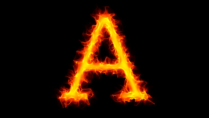 Letter a on fire