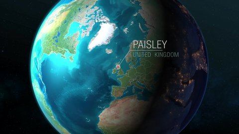 United Kingdom - Paisley - Zooming from space to earth