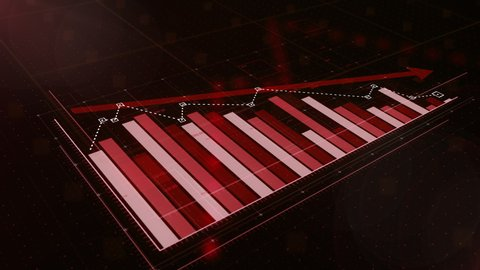 3D animation of a red bar graph fall down, professional look and feel, ultra HD 4K