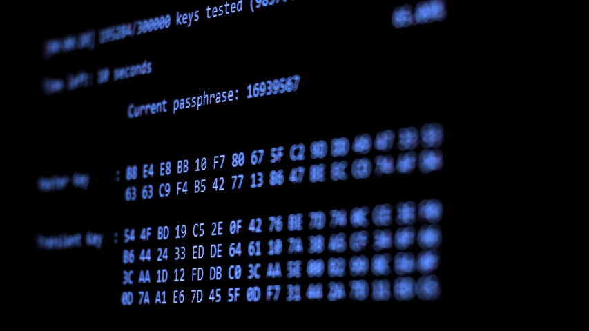 Computer Hacking, hacking bruteforce password attack via Wi-Fi network, Columns Of Hexadecimal Numbers Scrolling On Computer Screen, Key found! dark screen hacker | Shutterstock HD Video #1034805650