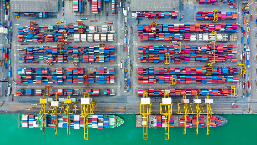 Aerial view time lapse of container ship. | Shutterstock HD Video #1034887640