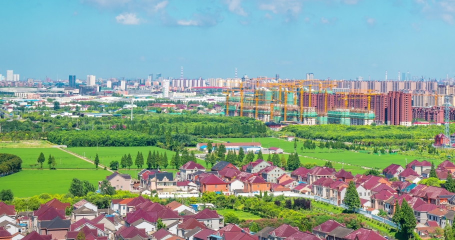 Urban buildings and real estate in the suburbs of Shanghai, China | Shutterstock HD Video #1034893220