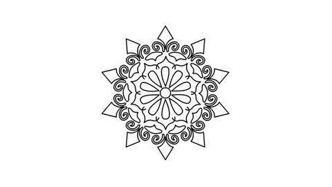 Flower shape Mandala drawing - Indian Traditional and Cultural Rangoli, Alpona, Kolam or Paisley line art