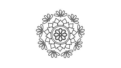 Circles, Flowers and petals of Mandala drawing - Indian Traditional and Cultural Rangoli, Alpona, Kolam, Floral or Paisley line art