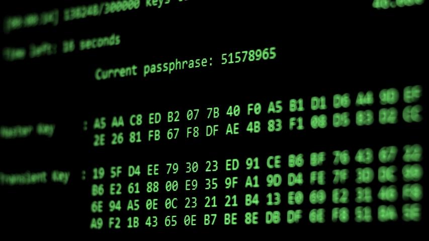 Computer Hacking, hacking bruteforce password attack via Wi-Fi network, Columns Of Hexadecimal Numbers Scrolling On Computer Screen, Key found! dark screen hacker | Shutterstock HD Video #1035004460