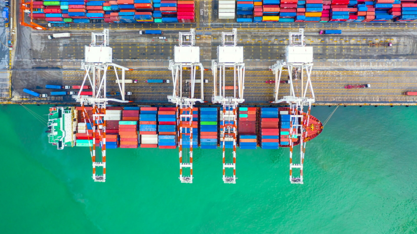 Aerial view, Time Lapse, container ship carrying container in import export business logistic and transportation of international by container ship in the open sea, 4k   Shutterstock HD Video #1035039050