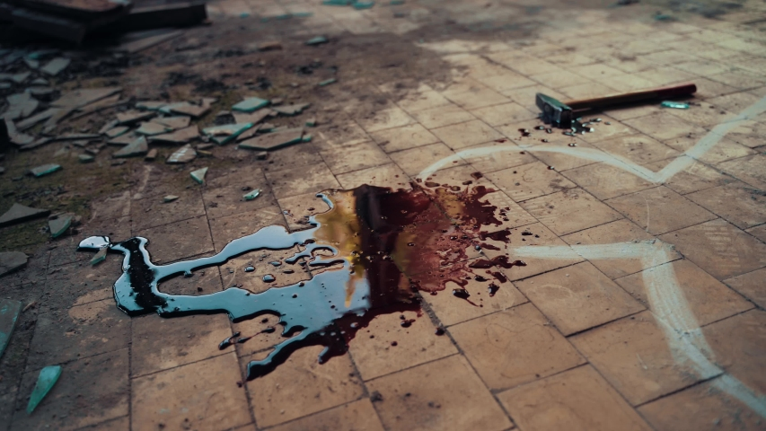 Crime scene investigation, chalk outline of victim body, blood and hammer - weapon of murder | Shutterstock HD Video #1035096560