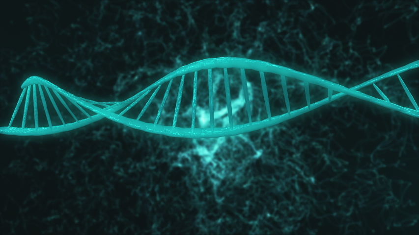 Computer graphic of blue elements creating DNA large light blue model part turning around in dark flashing background with thin white winding threads. 3d animation. Medicine biology science concept. | Shutterstock HD Video #1035106880