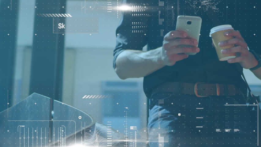 Animation of scanning and processing data with a young Caucasian man using a smartphone and drinking coffee in the background | Shutterstock HD Video #1035162410