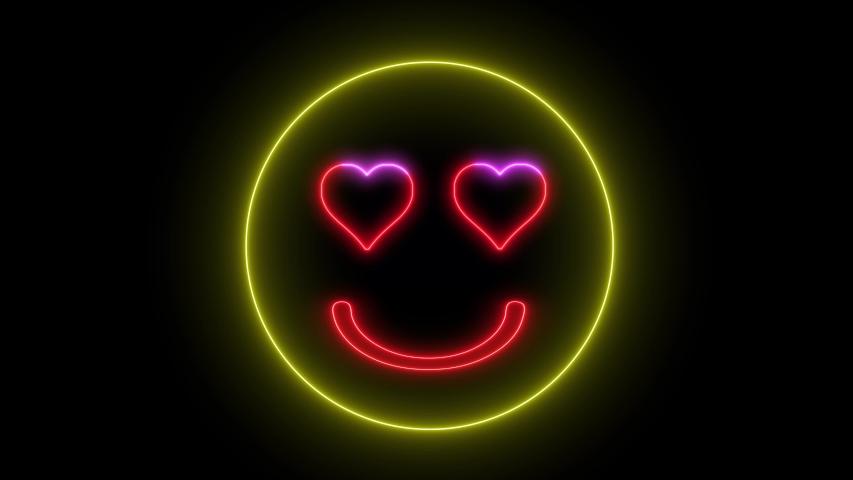 Neon heart eye smiley face. Glowing led light, smiling lover emoji.   Shutterstock HD Video #1035216200