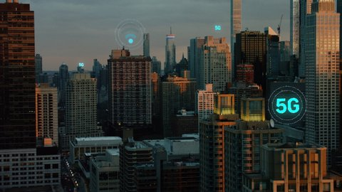 Aerial New York city skyline connected through 5G wireless network. Internet of things. Futuristic city.