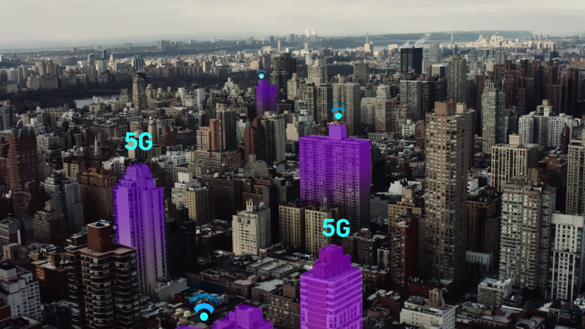 Futuristic aerial of New York city connected through 5G. Wireless network, mobile technology concept, data communication, cloud computing, artificial intelligence, internet of things.