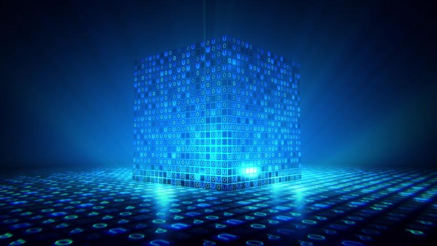 Big Cube data digital code. Futuristic information technology concept. | Shutterstock HD Video #1035341360