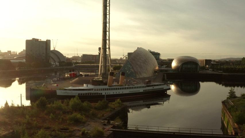 Glasgow Scotland sunrise aerial view of ship and tower