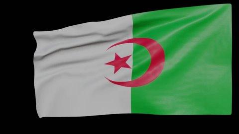 Blank plain Algeria flag  waving in the wind, surrender flag 3D animation
