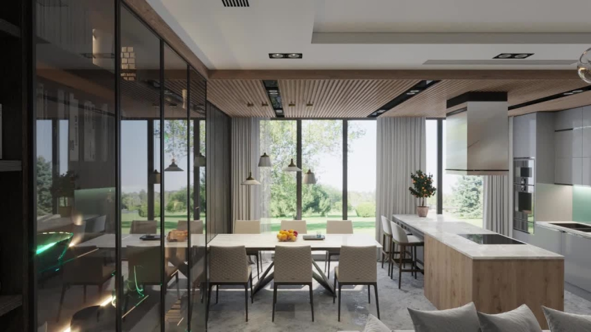 3d render. Camera span across a modern open living space with kitchen. | Shutterstock HD Video #1035416660