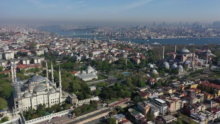 Turkey Istanbul blue mosque and ayasofya   Shutterstock HD Video #1035506870