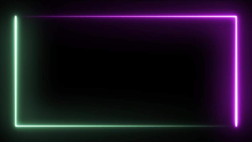 Abstract seamless background. Looped animation fluorescent ultraviolet neon light 4k. Glowing line rectangle. Box pattern LED screens. | Shutterstock HD Video #1035552530