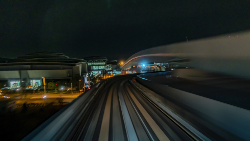 4K.Time lapse automatic train fast speed at Tokyo city of Japan asia is a famous place in Japan Asia Odaiba line   Shutterstock HD Video #1035562160