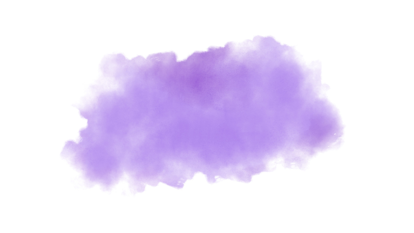 Watercolor Splash Hand Drawn Stain on White Background + Transparent Alpha Channel. Painting of a Purple Spot with Paint Streaks | Shutterstock HD Video #1035673700