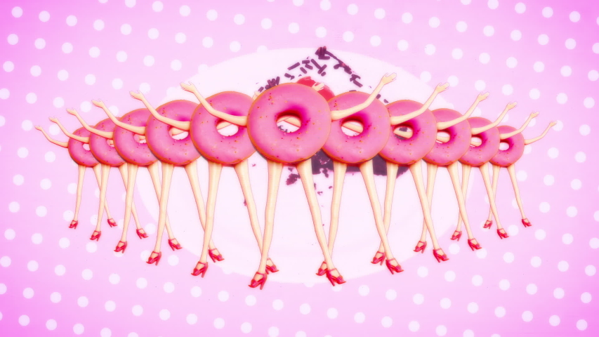 Motion fashion design. Donut funny Doll. Retro old TV effect | Shutterstock HD Video #1035739970