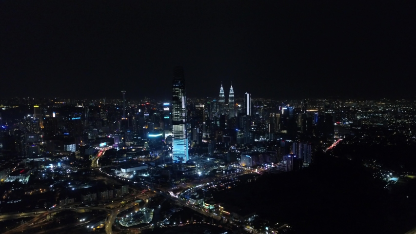 Series of aerial video of Kuala Lumpur city center with New Year's fire works. | Shutterstock HD Video #1035824060