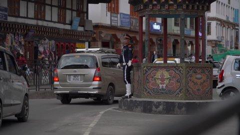 Thimphu / Bhutan - 05 14 2019: Traffic Police controlling traffic