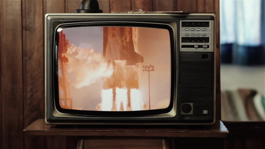 Apollo 11 Rocket Launch Color Film as Seen On a Vintage TV Set. Elements of this Image Furnished by NASA.  | Shutterstock HD Video #1035906080