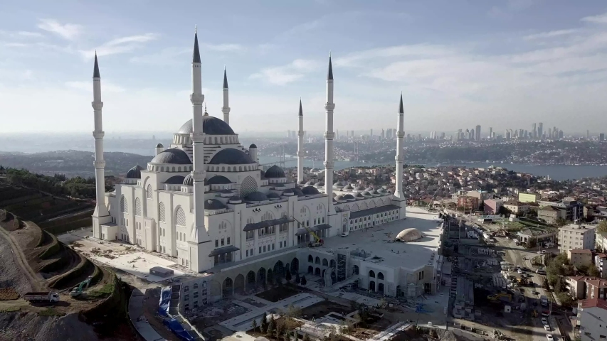 The new skyline of Istanbul: Camlica Mosque. This mosque built by the Turkish government is the newest work on the Anatolian side. He has become the new pearl of Istanbul. | Shutterstock HD Video #1036261970