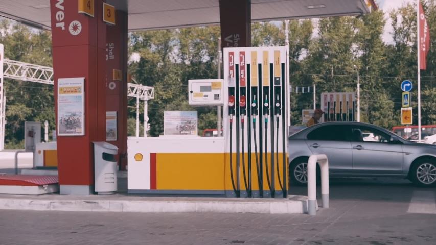 Ryazan, Russia - July 27, 2019: Shell gas station on the street. | Shutterstock HD Video #1036279370