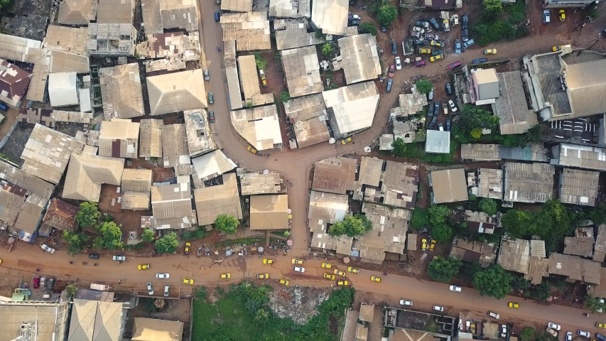 Drone view of traffic in Yaounde town, Cameroon, Africa | Shutterstock HD Video #1036335650