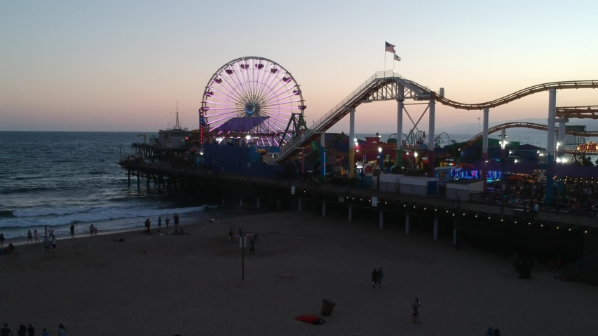 Los Angeles , California / United States - 07 19 2018: Santa Monica Pier at Sunset