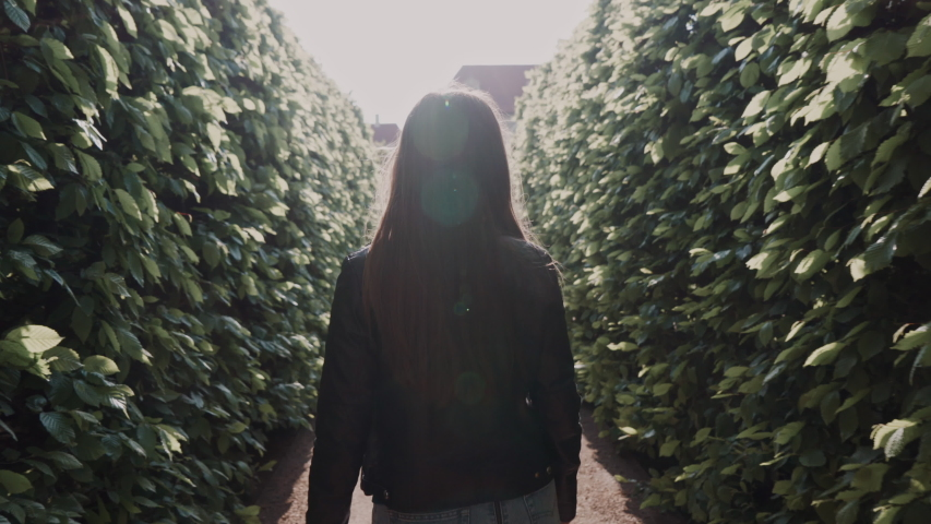 Beautiful smiling girl walking in park labyrinth in evening sunshine. She turns around and smiles at the camera. Back view   Shutterstock HD Video #1036360730