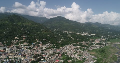 Kashmir valley aerial view of city