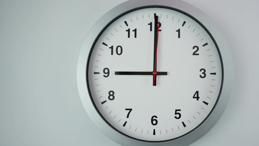 Close up Move the camera angle from left to right, Nine o'clock Start time work, Gray wall clock on  White background, Time Lapse Clock walking 60 minute. | Shutterstock HD Video #1036438400