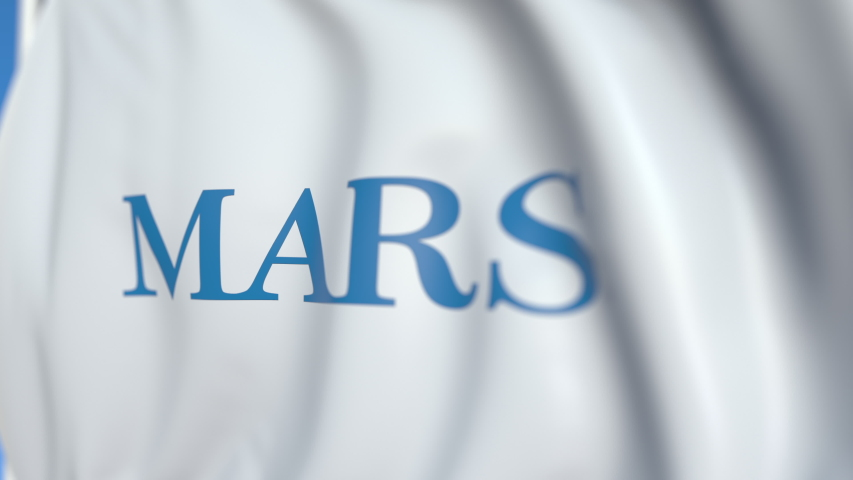 Flying flag with Mars Incorporated logo, close-up. Editorial loopable 3D animation | Shutterstock HD Video #1036508510